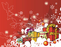 Winter holiday series. Winter holiday background with many gift boxes and grunge details,  illustration Stock Photos
