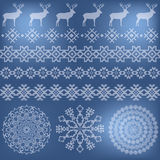 Winter holiday set on blue blurred background Stock Photography