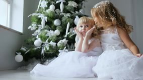 Winter holiday, sisters in white dresses are photographed on floor next to decorated fir tree on eve of new year. Winter holiday, sisters in white dresses are stock video footage