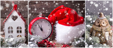 Winter holiday site header. Collage from Christmas  or New year photos. Decorative owl, hat, clock,  lanetrn, berries and branches fur tree on aged  wooden Stock Image
