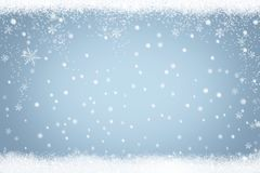 Winter holiday snow background with frame of snowflakes and stars royalty free illustration