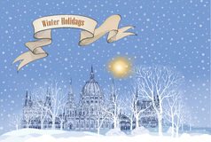 Winter holiday snow background. Merry Christmas greeting card. S Royalty Free Stock Images