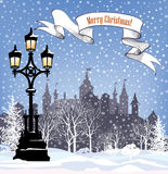 Winter holiday snow background. Merry Christmas greeting card. S Royalty Free Stock Photo
