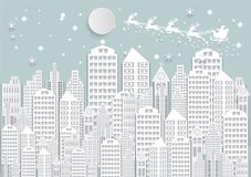 Winter holiday snow in city background with santa. Christmas season paper art style illustration Royalty Free Stock Images