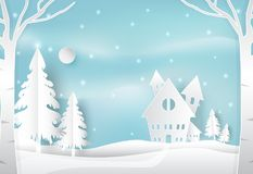 Winter holiday and snow in countryside with blue. Christmas seas. Winter holiday and snow in countryside with blue sky nature background. Christmas season paper Stock Images