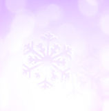 Winter holiday snow flake purple background, bokeh.  stock image