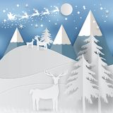 Winter holiday snow and mountain background with santa, deer and tree. Christmas season paper art style illustration Royalty Free Stock Photos