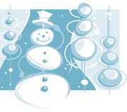 Winter holiday snowman. A stylized  illustration of a happy snowman tipping his house in a wither wonderland Stock Photography
