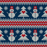 Winter Holiday Sweater Design with Snowman and Christmas Tree. Seamless Knitted Pattern Stock Image