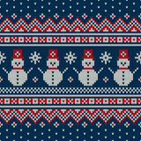Winter Holiday Sweater Design with Snowmans. Seamless Knitted Pattern Royalty Free Stock Images