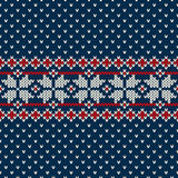 Winter Holiday sweater design on the wool knitted texture. Seamless knitting pattern ornament for winter holiday fabric design. EPS available Royalty Free Stock Image