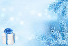 Winter Holiday Theme background. Magic Winter holiday theme with snowflakes and pine forest Royalty Free Stock Images