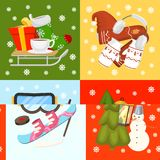 Winter holiday time banner, card vector illustration. Nature landscape with Christmas tree, snowmen, lantern hat scarf vector illustration