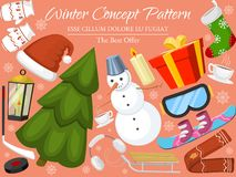 Winter holiday time banner, card vector illustration. Nature landscape with Christmas tree, snowmen, lantern, hat, scarf vector illustration