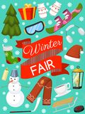 Winter holiday time banner, card vector illustration. Nature landscape with Christmas tree, snowmen, lantern, hat scarf vector illustration