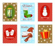 Winter holiday time set of banners, cards vector illustration. Nature landscape with Christmas tree, snowmen lantern hat royalty free illustration
