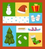 Winter holiday time set of banners vector illustration. Nature landscape with Christmas tree, snowmen lantern hat scarf stock illustration