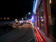 Winter holiday train in Santa Cruz California. Every year around winter holidays volunteer crews re-start this old train for the tourists and locals alike. In Stock Image