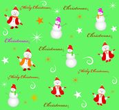 Seamless christmas background snowman and snowflakes Royalty Free Stock Photo
