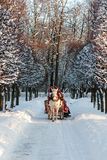 Winter holiday-walk in carriage Stock Image