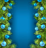 Winter Holiday Wallpaper with Fir Sprigs and Glass Stock Photos