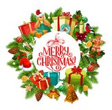 Merry Christmas wreath of fir and gifts stock illustration