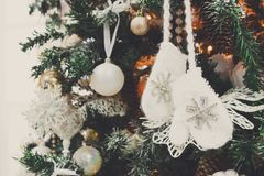 Modern christmas tree decoration background Royalty Free Stock Photo