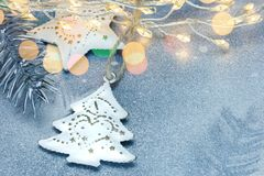 Winter holidays background with christmas decorations stock photography