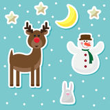 Winter holidays background with funny cartoon deer from sledding Stock Photos