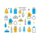 Happy new year decoration element, winter holidays background, Christmas ornament, festive pattern, vector flat icons. Winter holidays background, happy new year Royalty Free Stock Images