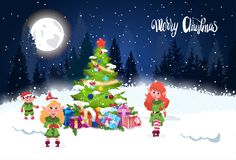 Winter Holidays Background Merry Christmas Lettering Over Night Forest Landscape Fir Tree And Cute Elfs. Flat Vector Illustration Royalty Free Stock Photography