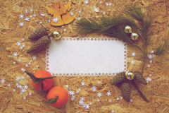 Winter holidays background in vintage style Royalty Free Stock Images