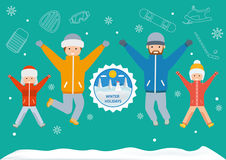 Winter holidays banner. Flat style illustration Stock Photo