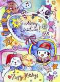Winter Holidays Card. Cute greeting card design for the winter holidays, featuring adorable animals. Created with watercolor, coloured pencils and ink Stock Images