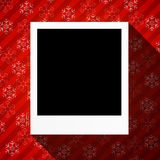 Winter holidays card with blank photo frame Royalty Free Stock Image
