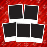 Winter holidays card with blank photo frames. On red  snowy background. Vector illustration Stock Photos