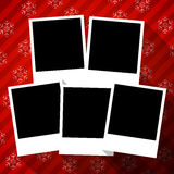 Winter holidays card with blank photo frames Royalty Free Stock Images