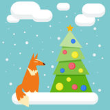 Winter holidays card with funny cartoon fox and spruce Royalty Free Stock Images