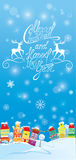 Winter holidays card with houses. Handwritten text Merry Christmas and Happy New Year Royalty Free Stock Photos