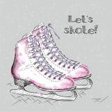Winter holidays card with ice skates cartoon sketch. Hand draw vector illustration Stock Photos