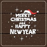 Winter Holidays Card Over Wooden Texture Background Merry Christmas And Happy New Year Lettering. Vector Illustraion Royalty Free Stock Photos