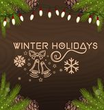Winter holidays card. Christmas design with spruce branches and electric garland on a wooden background. Vector illustration Royalty Free Stock Photo