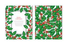 Winter holidays cards. Hand drawn decorative winter holidays cards with holly berries, design elements. Can be used for invitations, gift wrap, print royalty free illustration