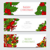 Winter holidays cards set. Hand drawn decorative winter holidays cards set, design elements. Can be used for invitations, gift wrap, print, scrapbooking vector illustration