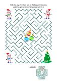 Maze game with piglets Santa helpers, baubles and christmas tree vector illustration