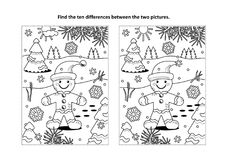 Find the differences visual puzzle and coloring page with ginger man. Winter holidays, Christmas or New Year themed find the ten differences picture puzzle and royalty free illustration