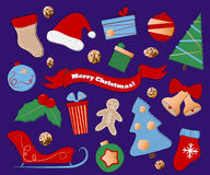 Winter holidays clipart on purple background. Christmas or New Year icons in flat style. Red, blue and green Christmas symbols. Santa Claus hat and sleigh. Fir vector illustration