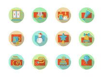 Winter holidays colored round icons set Royalty Free Stock Photography
