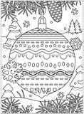 Winter holidays coloring page with decorated ornament. Winter holidays coloring page for kids and grown-ups with decorated ornament, fir tree branches, snowbanks Royalty Free Stock Image