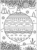 Winter holidays coloring page with decorated ornament. Winter holidays coloring page for kids and grown-ups with decorated ornament, fir tree branches, snowbanks Royalty Free Stock Photo